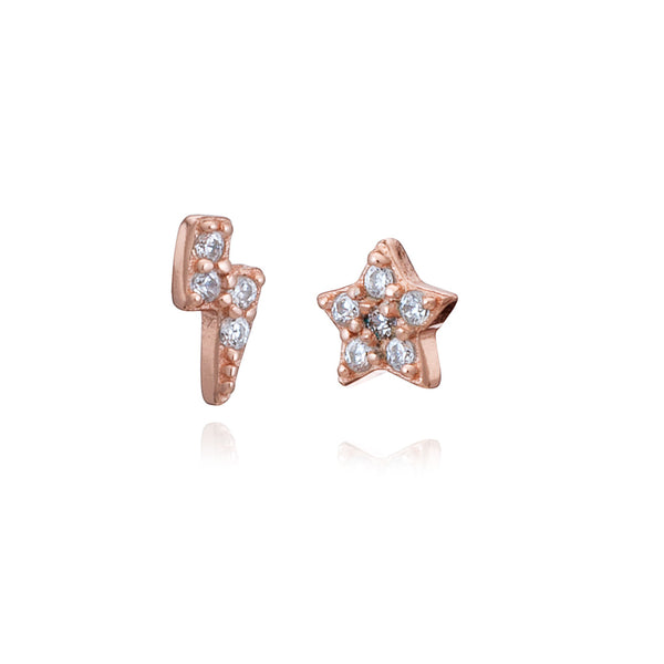 Rose Gold Mini Lighting & Star Stud Earrings with Cubic Zirconia - Lulu B Jewellery