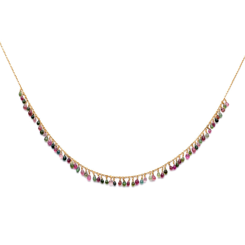 Gold Valencia Necklace with Multi-coloured Tourmaline Beads - Lulu B Jewellery
