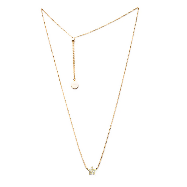 Gold Star Necklace with Silver Star and Cubic Zirconia and Sliding Ball - Lulu B Jewellery