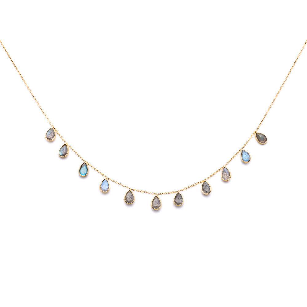 Gold Lottie Necklace with Labradorite Drops - Lulu B Jewellery