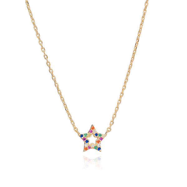 Gold Star Rainbow Necklace with Multi-Coloured Cubic Zirconia - Lulu B Jewellery