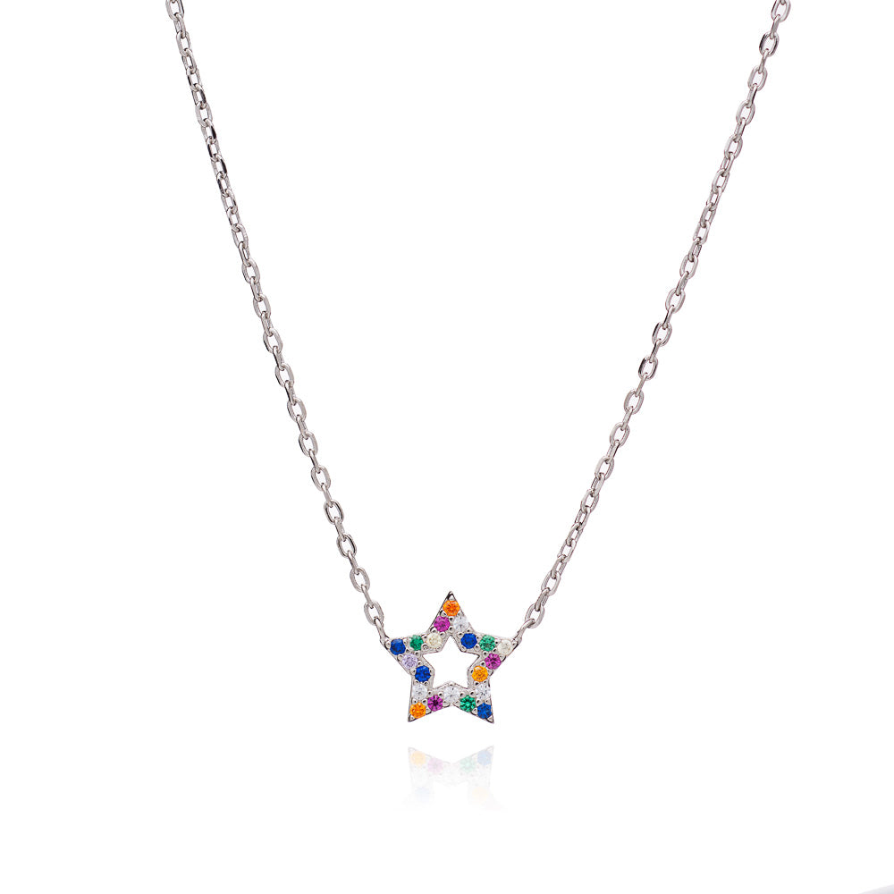 Silver Star Rainbow Necklace with Multi-Coloured Cubic Zirconia - Lulu B Jewellery