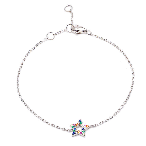 Silver Star Rainbow Bracelet with Multi-Coloured Cubic Zirconia - Lulu B Jewellery