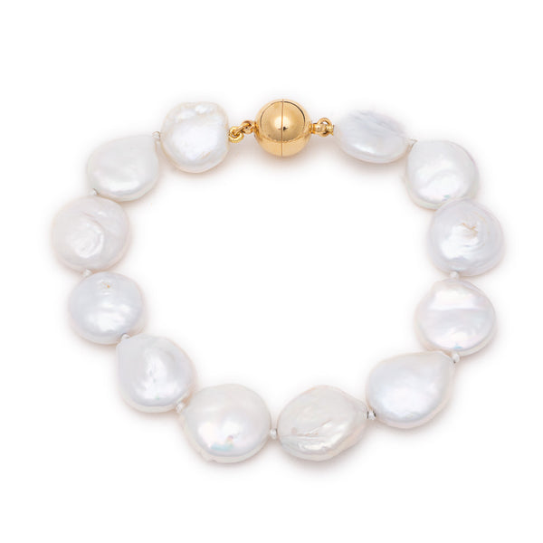 Gold Valerie Bracelet with Flat Coin Pearl - Lulu B Jewellery