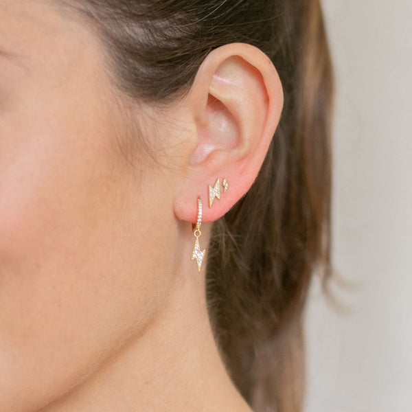 Gold Berkeley Hoop Earrings with Hanging Lightning - Lulu B Jewellery