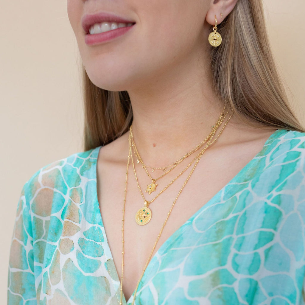 Gold Luna Necklace with Green Onyx - Lulu B Jewellery