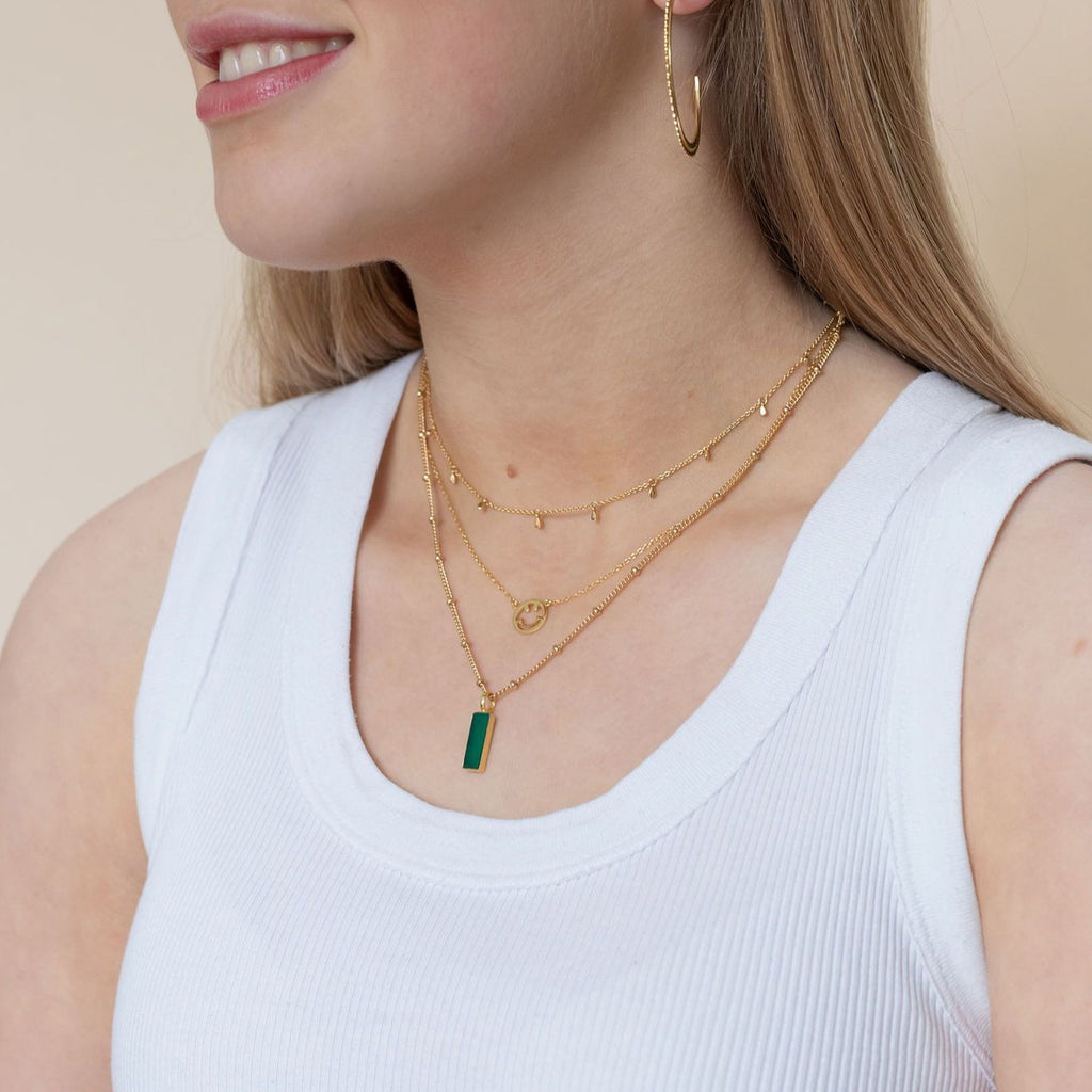 Gold Green Onyx Bar Pendant - Lulu B Jewellery