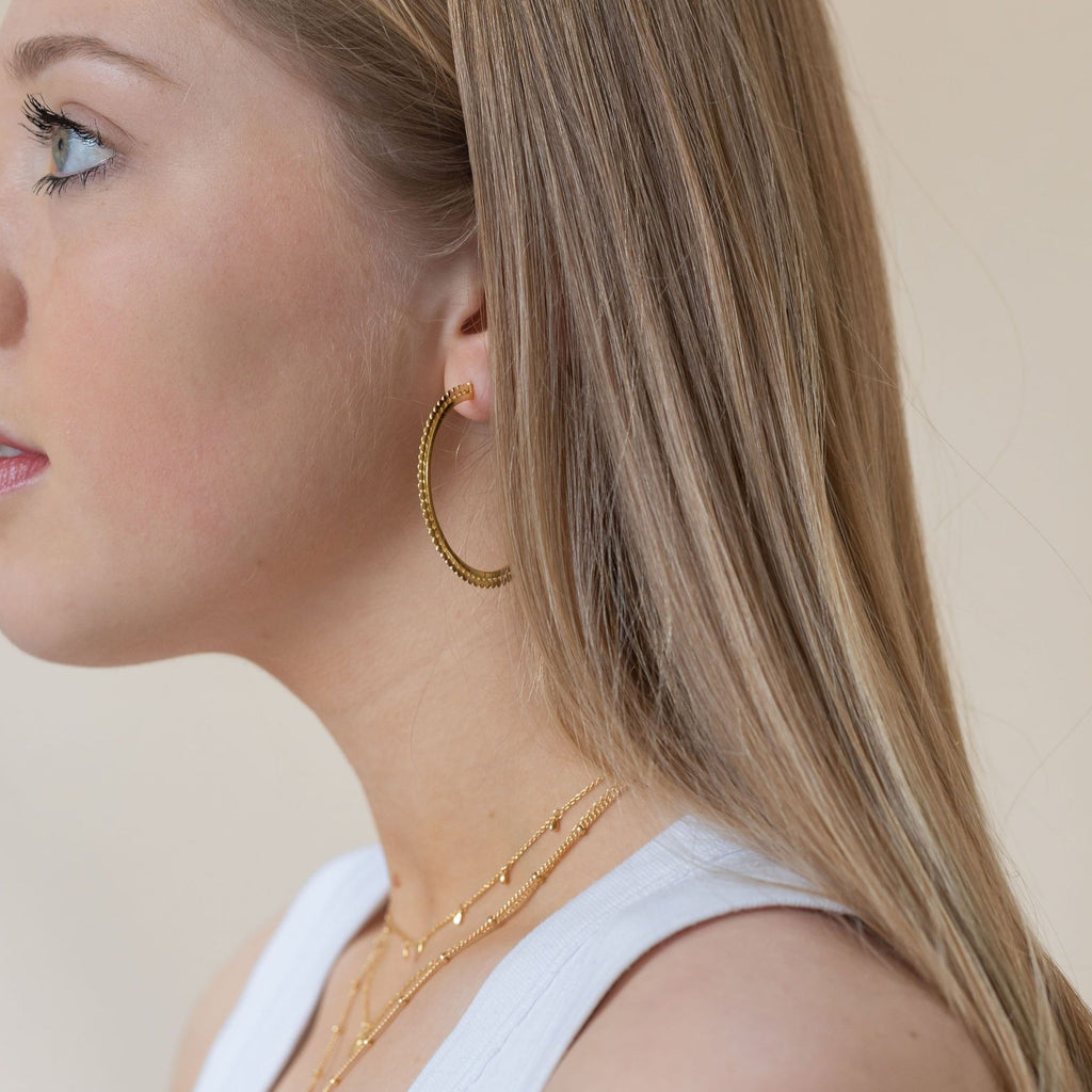 Gold Helio Large Hoops - Lulu B Jewellery