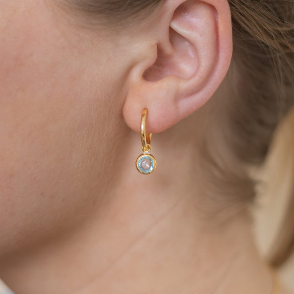 Gold Birthstone Hoop Earrings with Blue Topaz - Lulu B Jewellery