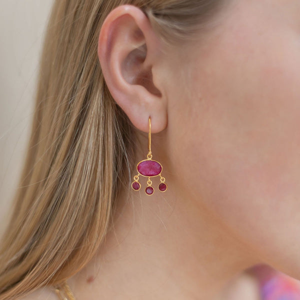 Amber Drop Earrings with Ruby Red Sillimanite - Lulu B Jewellery