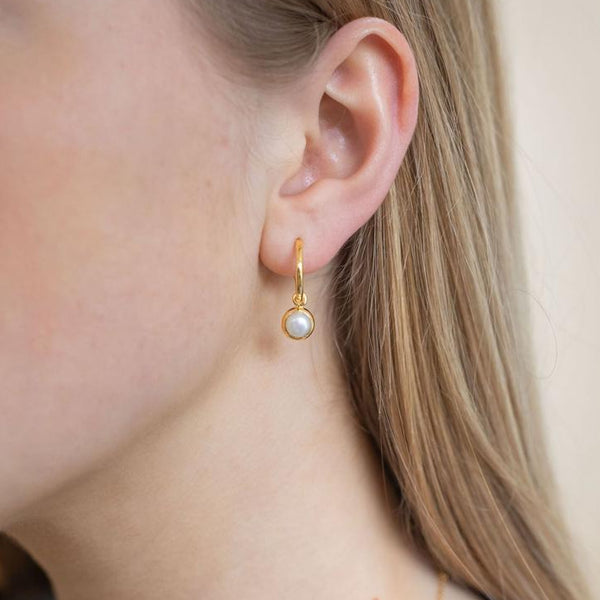 Gold Birthstone Hoop Earrings with Mother of Pearl - Lulu B Jewellery