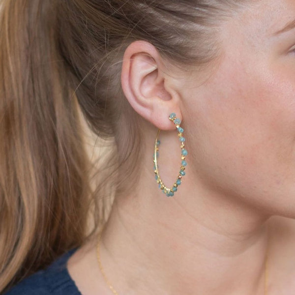 Gold Tilly Hoop Earrings with Aquamarine - Lulu B Jewellery