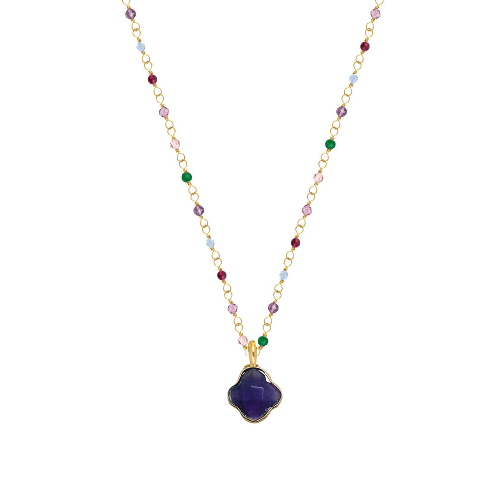Cora Necklace with Amethyst Clover - Lulu B Jewellery