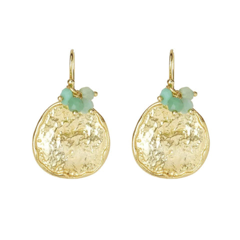 Gold Cleo Drop Earrings with Chrysoprase - Lulu B Jewellery