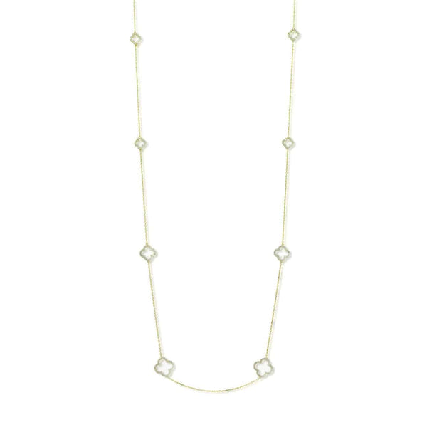 Gold Clover Necklace with Cubic Zirconia (Long) - Lulu B Jewellery