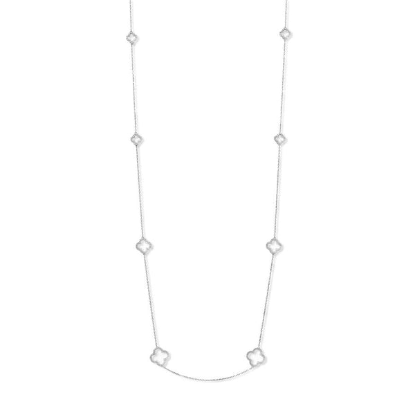Silver Clover Necklace with Cubic Zirconia (Long) - Lulu B Jewellery