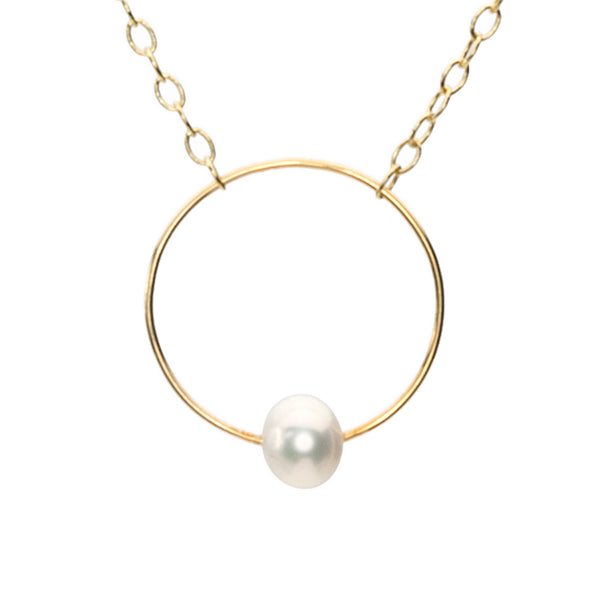Gold Turner Necklace with Freshwater Pearl - Lulu B Jewellery