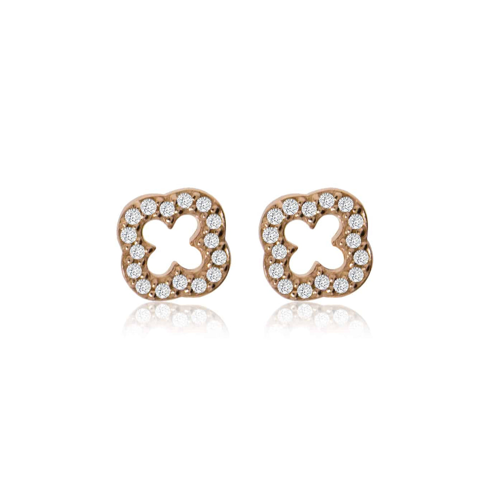 Rose Gold Clover Stud Earrings with Cubic Zirconia - Lulu B Jewellery