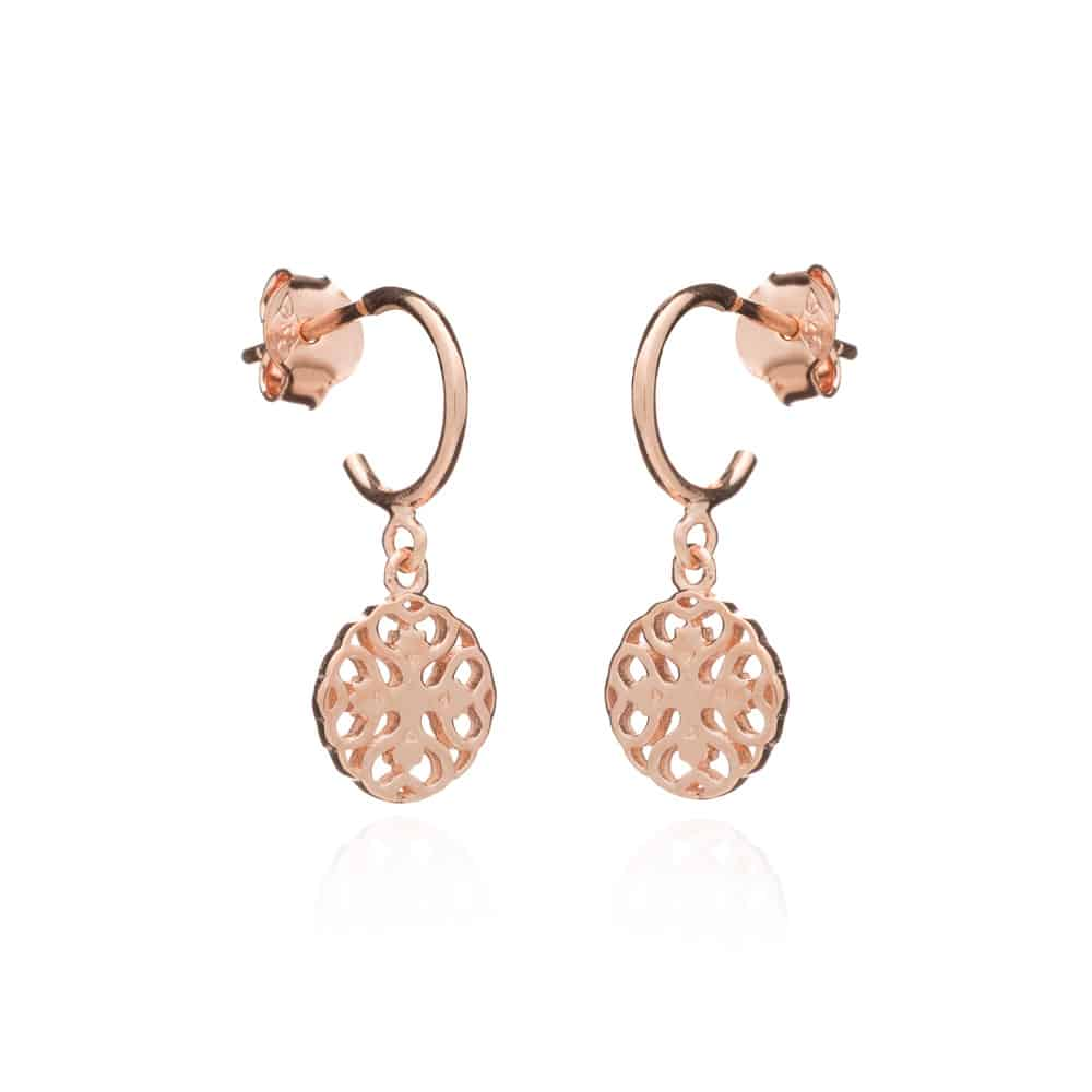 Rose Gold Finsbury Drop Hoops - Lulu B Jewellery