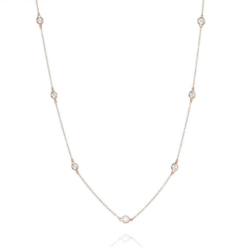 Rose Gold Brompton Chain Necklace with Cubic Zirconia - Lulu B Jewellery