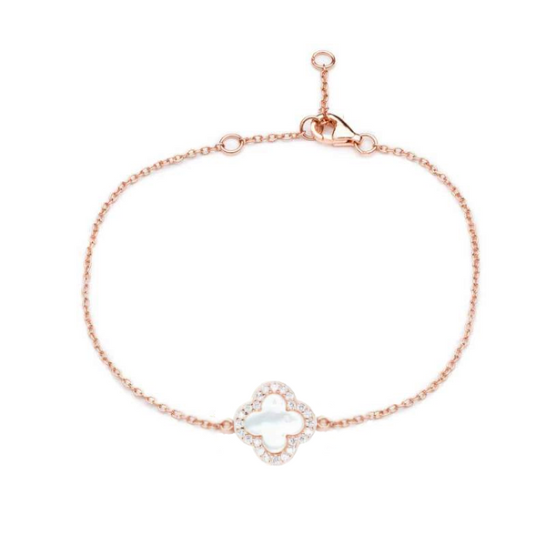 Rose Gold Clover Bracelet with Mother of Pearl - Lulu B Jewellery