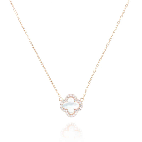 Rose Gold Clover Necklace with Mother of Pearl - Lulu B Jewellery