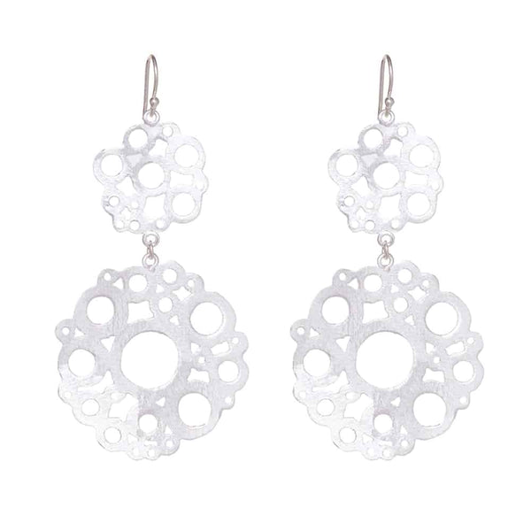 Silver Floral Drop Earrings - Lulu B Jewellery
