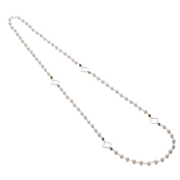Silver Clover Necklace with Pearl Chain (Long) - Lulu B Jewellery