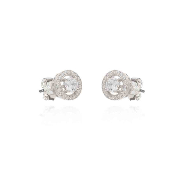 Silver Clifton Stud Earrings with Cubic Zirconia - Lulu B Jewellery