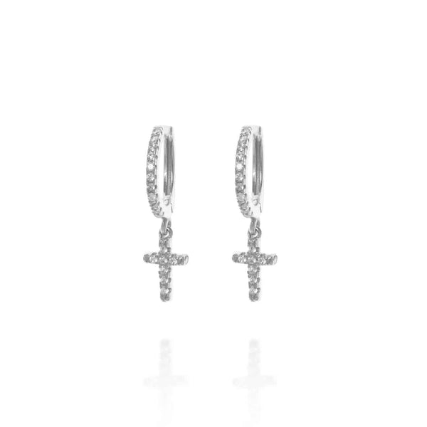 Silver Berkeley Hoop Earrings with Hanging Cross - Lulu B Jewellery