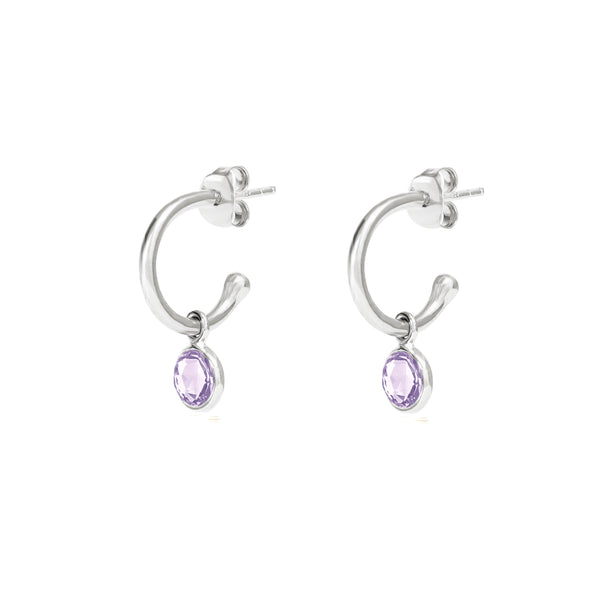 Silver Birthstone Hoop Earrings with Amethyst - Lulu B Jewellery