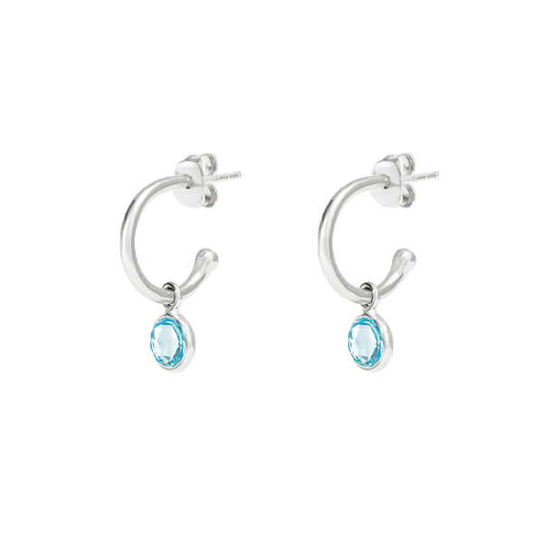 Silver Birthstone Hoop Earrings with Blue Topaz - Lulu B Jewellery