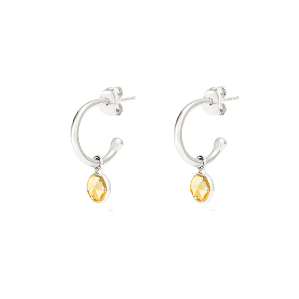 Silver Birthstone Hoop Earrings with Citrine - Lulu B Jewellery