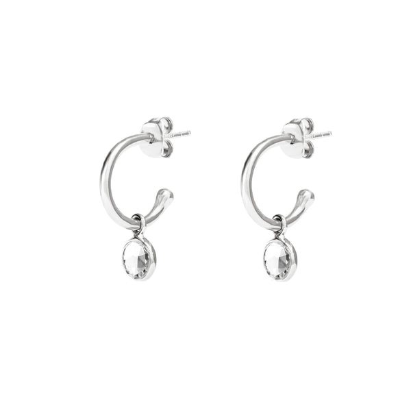 Silver Birthstone Hoop Earrings with Crystal - Lulu B Jewellery