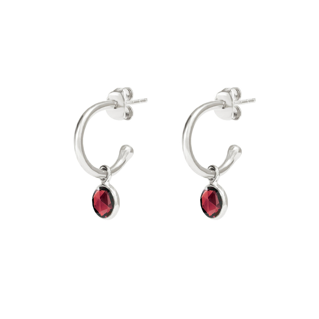 Silver Birthstone Hoop Earrings with Garnet - Lulu B Jewellery