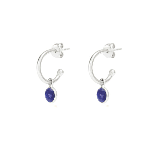Silver Birthstone Hoop Earrings with Lapis Lazuli - Lulu B Jewellery