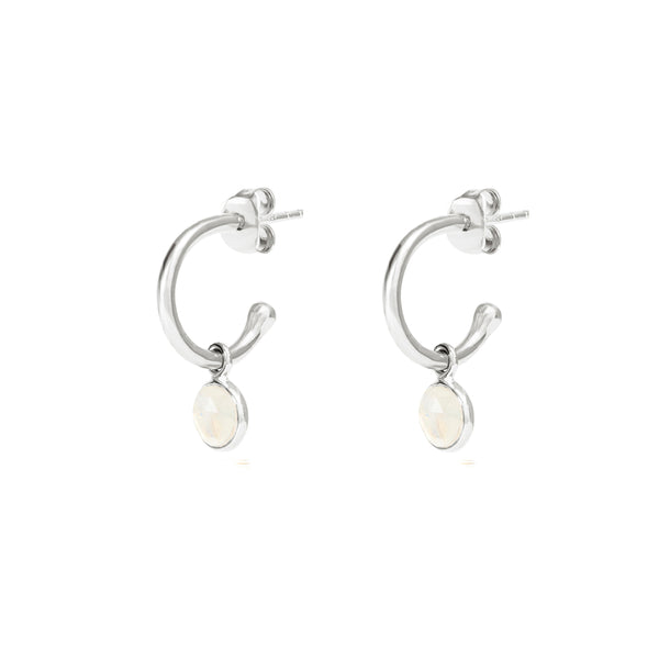 Silver Birthstone Hoop Earrings with Moonstone - Lulu B Jewellery