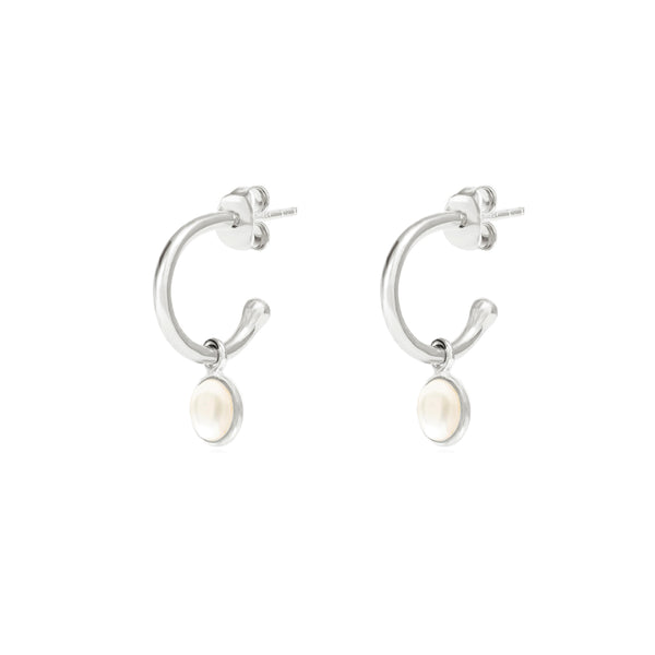 Silver Birthstone Hoop Earrings with Pearl - Lulu B Jewellery