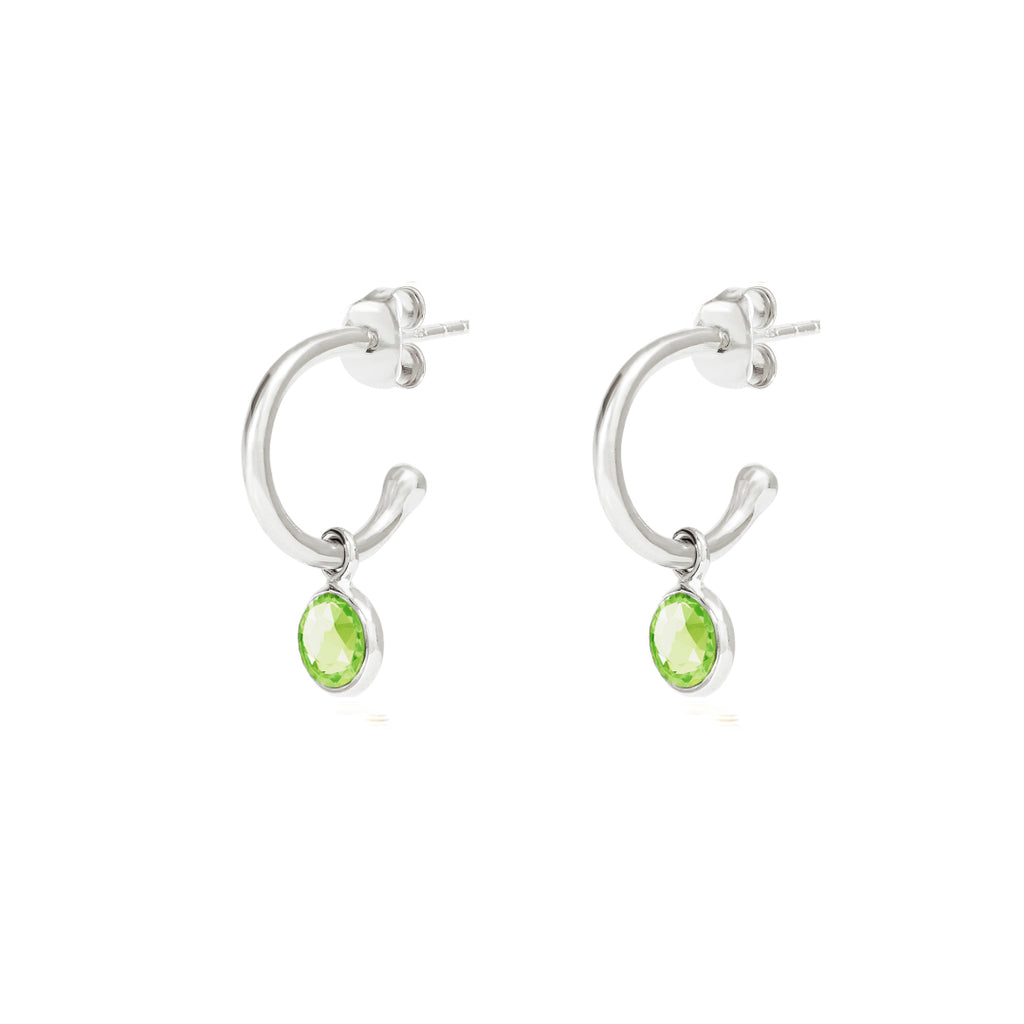 Silver Birthstone Hoop Earrings with Peridot - Lulu B Jewellery