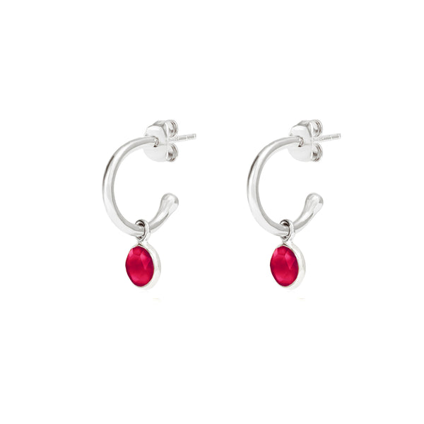 Silver Birthstone Hoop Earrings with Ruby Quartz - Lulu B Jewellery