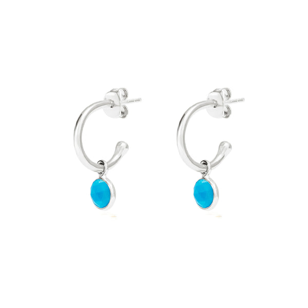 Silver Birthstone Hoop Earrings with Turquoise - Lulu B Jewellery