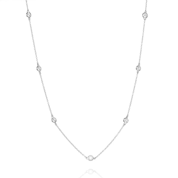 Silver Brompton Chain Necklace with Cubic Zirconia - Lulu B Jewellery