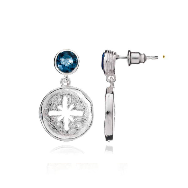 Silver Canterbury Drop Stud Earrings with Iolite - Lulu B Jewellery