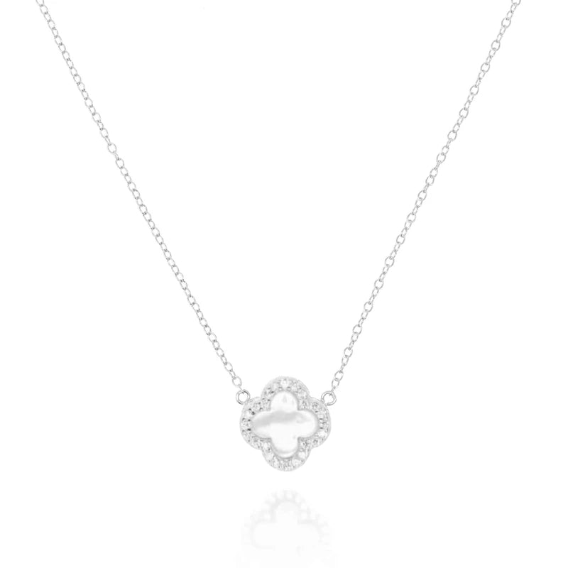 Silver Clover Necklace with Mother of Pearl - Lulu B Jewellery