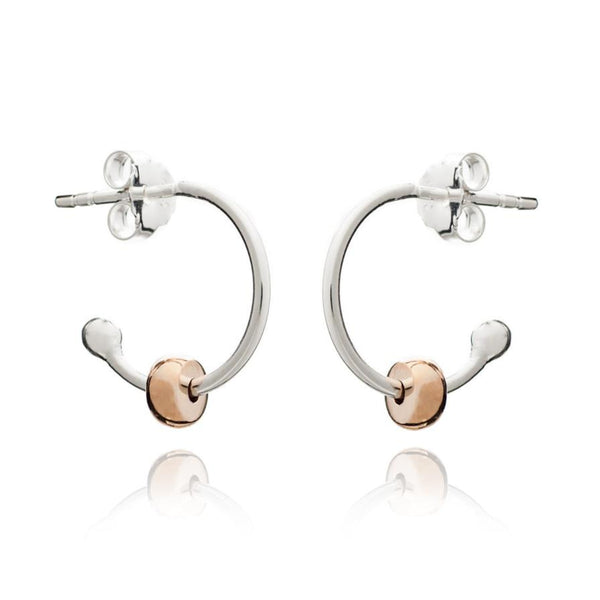 Silver Cooper Hoops with Rose Gold Beads - Lulu B Jewellery