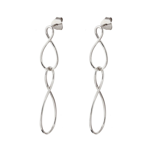 Silver Infinity Stud Drop Earrings - Lulu B Jewellery