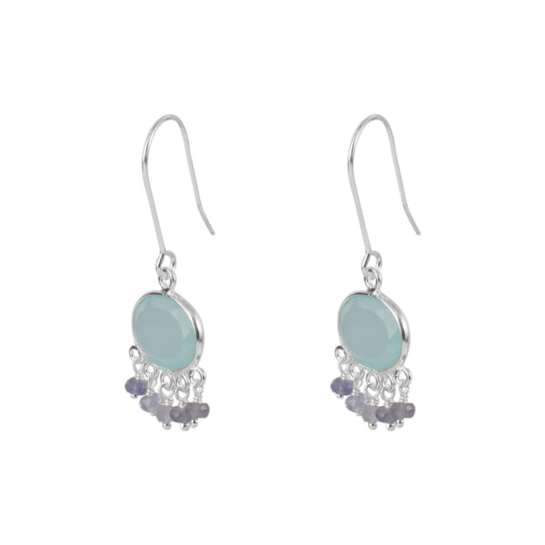 Silver Isla Drop Earrings with Aqua Chalcedony and Iolite - Lulu B Jewellery