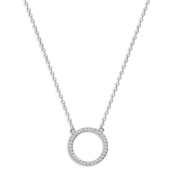 Silver Kingsbury Halo Necklace with Cubic Zirconia - Lulu B Jewellery