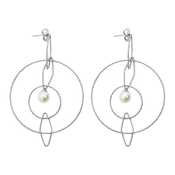 Silver Lydia Drop Studs with Pearl - Lulu B Jewellery