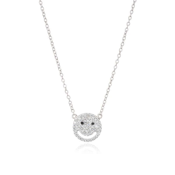 Silver Smile Necklace with Cubic Zirconia - Lulu B Jewellery